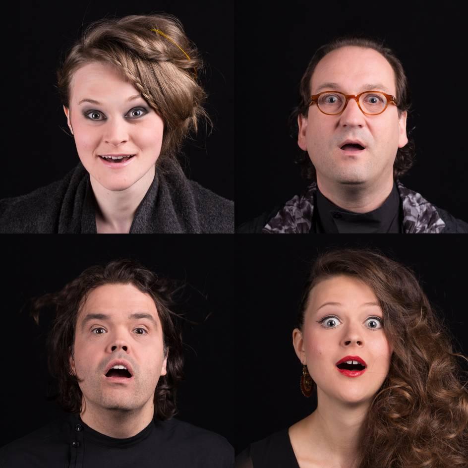 Vier Musiker mit offenem Mund!