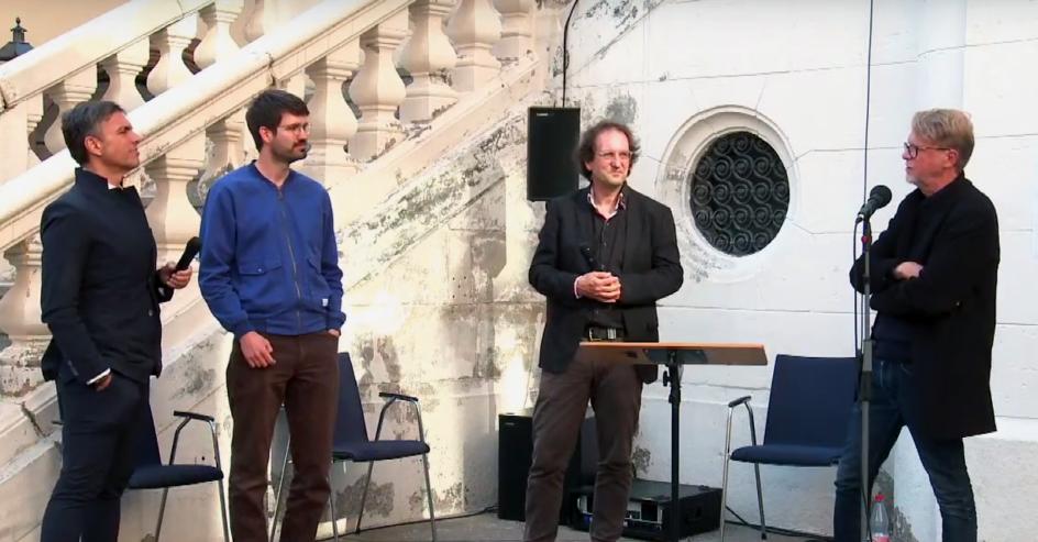 Music Speakers' Corner Auftakt v.l.n.r. Moritz Eggert (Komponist)  / Lukas Wortmann (Leipziger Hörspielsommer) / Lukas Dreyer (Künstlkerischer Leiter) / Jürgen Meier (Licht- und Videokünstler)